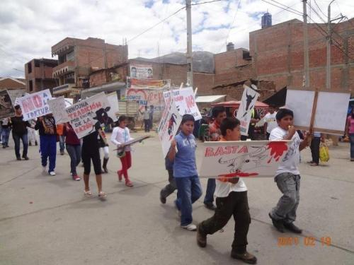 Awesome kids protesting against bullfighting in Peru!
