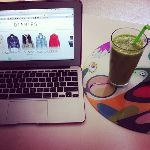 A healthy way to start your day. TeenDiaries.net and a green smoothie! (Taken with Instagram)