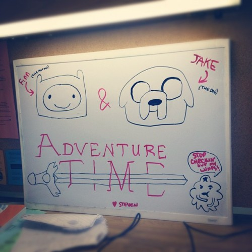 You're welcome @flyrfn144 ❤ #adventuretime #finn #finnthehuman #jake #jakethedog #lumpyspaceprincess #lsp #whiteboard #drawing #instagram  (Taken with Instagram at Miller Hall)