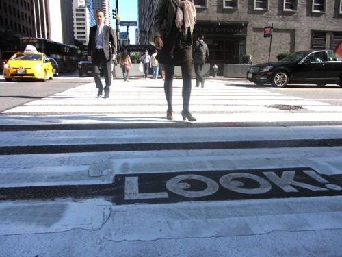 "Image of the Day: Michael Bierut's brilliant new ""LOOK!"" campaign for NYC DOT got the Gothamist treatment on Wednesday. (Photo by John Del Signore)"