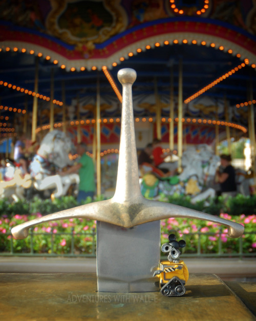 Wall-e pulls the sword from the stone. 256/366