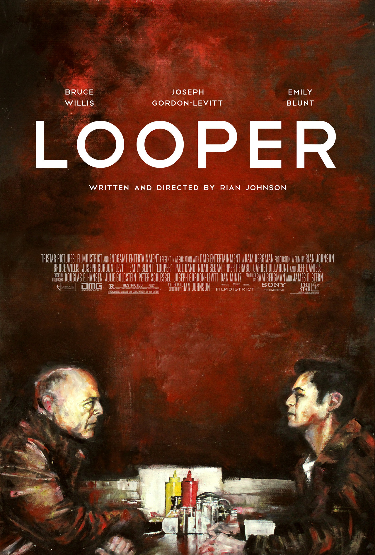 hitrecordjoe:  loopermovie:  Zach Johnson's poster for Looper.  Available for purchase here.  Beautifully hand painted @LOOPERmovie poster.  By Rian's cousin Zach @zucherman.  Oh, those Johnsons.