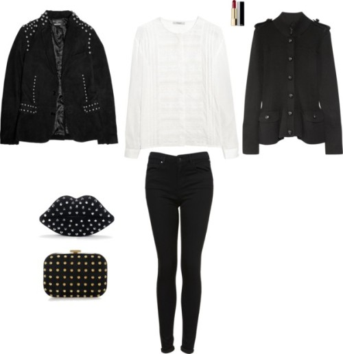 Red lipstick Black coat/(military) jacket White blouse Black jeans Black studded (lips) clutch Black studded slippers
