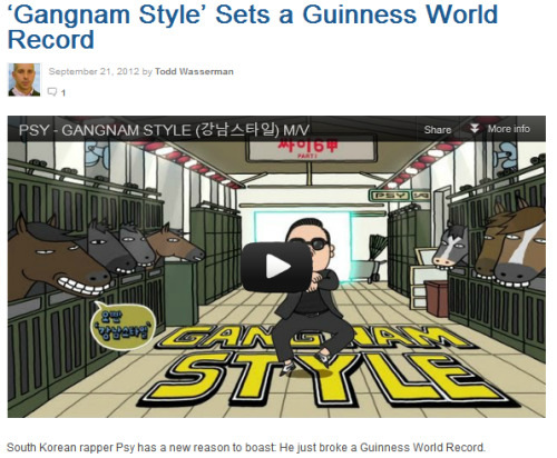 "ygfamilyy:  PSY's Gangnam Style sets a Guinness World Record! South Korean rapper Psy has a new reason to boast: He just broke a Guinness World Record. The records-keeping authority announced Friday morning that Psy's Gangnam Style broke the record for ""Most Likes on YouTube"" with 2,141,758. That breaks the previous record set by LMFAO's Party Rock Anthem (1,574,963), Justin's Bieber's Baby (1,327,147) and Adele's Rolling in the deep (1,245,641). (It should also be noted that Psy's hit is edging close to 100,000 dislikes as well.) Gangnam also has racked up 227 million views, which puts it just outside of YouTube's list of the 30 most-viewed videos ever. In a release, Guinness World Records Community Manager, Dan Barrett, said: ""Having been the 'Have you seen this?!' video of the last two months across the web, it's great to be able to award a record for this tremendously popular video. In years past it was unthinkable that something would be viewed a hundred million times, and now ""Gangnam Style"" has achieved more than twice this figure in just three months on YouTube. PSY – your certificate is waiting here at our office, come pick it up any time!"" Source: Mashable.com"