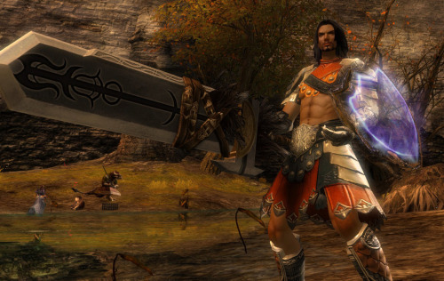 syberfag:  My kawaii Guild Wars 2 Guardian Ser Jecht glitching his sword  Guardian is my fave slaughter machine uguu (ps yes I made FFX's Jecht in GW2 WHAT OF IT)