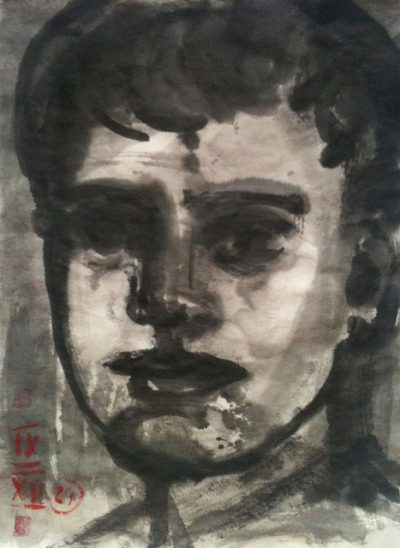 head of a boy, ink wash on Japan paper 24x33cm, Sept/2012 @_blacha_ on Flickr.