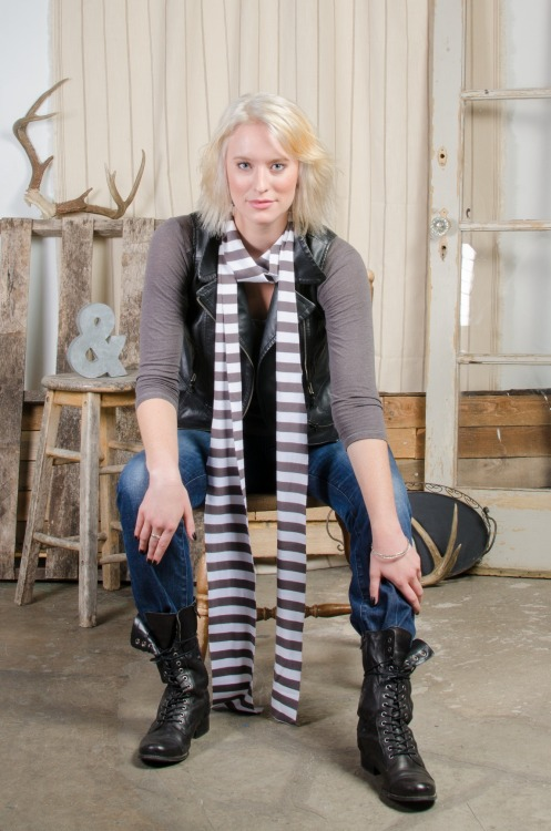 This long, narrow grey & white tee shirt scarf has fun written all over it! 5 inches wide, 110 inches long (that's over 9 feet, people!), and crazy soft, you can wrap yourself up to your heart's content. Have fun! Since it's made from 100% organic cotton and by our fair trade certified factory partner, you will look good while doing good.