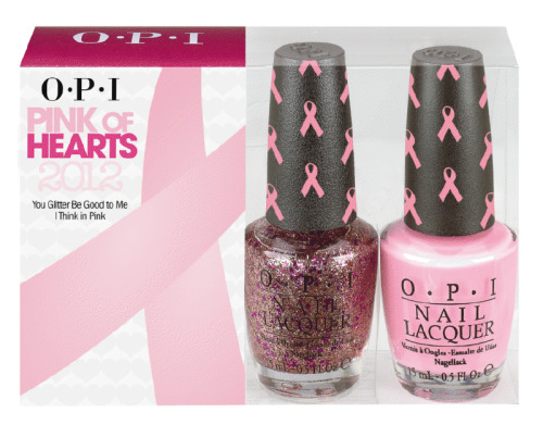 "OPI announces the launch of its sixth annual limited edition Pink of Hearts promotion, featuring the classic pale pink shade I Think in Pink and the new sparkle-packed hue You Glitter Be Good to Me. This duo pack is designed to raise awareness and funds for breast cancer research and support. In 2012, OPI will donate $25,000 in honor of Breast Cancer Awareness Month (October) to Susan G. Komen for the Cure®. OPI will also donate $5,000 to Rethink Breast Cancer in Canada. ""Organizations like Susan G. Komen and Rethink Breast Cancer offer hope to everyone whose lives have been touched by breast cancer, and OPI is proud to aid these organizations' global effort in eliminating this disease,"" says Suzi Weiss-Fischmann, OPI Executive VP & Artistic Director.  ""Breast cancer afflicts millions of women worldwide, and Pink of Hearts is OPI's way of creating new visibility to honor those who have valiantly battled breast cancer, and support those who continue to fight."" Pink of Hearts 2012 includes two shades sold in one pack – the pale pink I Think in Pink and the vibrant You Glitter Be Good to Me. This sparkly lacquer is packed with both micro and macro glitters in pink and magenta, and can be worn alone or layered on top of I Think in Pink. Each bottle of I Think in Pink and You Glitter Be Good to Me nail lacquer has a special pink-ribbon cap wrap in support of breast cancer awareness.  Both lacquers in the Pink of Hearts 2012 duo pack contain no DBP, Toluene, or Formaldehyde, and each includes OPI's exclusive ProWide™ Brush for the ultimate in application. Pink of Hearts 2012 will be available September and October 2012, at Professional Salons, including Beauty Brands, Beauty First, Chatters, Dillard's, JCPenney, Pure Beauty, Regis, Trade Secret, and ULTA, for $14.95 ($20.95 CAN) suggested retail for each Nail Lacquer.  The pink ribbon pattern on the caps is so cute! I'm a big fan of OPI's annual breast cancer nail polishes. Definitely looking forward to this pack!"