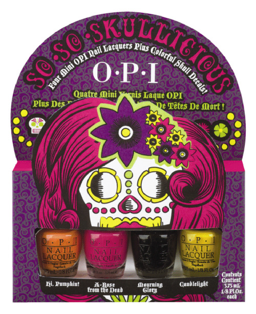 "Celebrate the lives of the dearly departed with OPI's festive Dia de los Muertos-inspired shades, arriving just in time for Halloween, for a limited time only. The new So So Skullicious mini pack includes four mini lacquers in supernaturally bright and bold orange, pink, yellow and black hues.  The So So Skullicious set also includes 10 nail decals for instantaneous nail design, offering vibrant variations of the iconic Dia de los Muertos skull.  ""Rather than simply be spooky this Halloween, OPI has created colors that are full of life,"" explains Suzi Weiss-Fischmann, OPI Executive VP & Artistic Director.  ""So So Skullicious features vivid colors and fun nail decals that offer the perfect way to get festive for the holiday, whether you're looking for a little way to show Halloween spirit, or planning to get decked out from head to nails and toes!""  So So Skullicious includes the following shades:  Hi, Pumpkin! - This jack-o-lantern orange is sweet on you. A-Rose from the Dead - This hot pink is the life of the Halloween party. Mourning Glory - A black so shiny, it will lift your spirits. Candlelight - Be all aglow in this flame yellow.  Each nail lacquer shade in this set contains no DBP, Toluene, or Formaldehyde, and each includes OPI's exclusive ProWide™ Brush for the ultimate in application. So So Skullicious will be available for a limited time beginning September 2012, at Professional Salons, including Beauty Brands, Beauty First, Chatters, Dillard's, JCPenney, Pure Beauty, Regis, Trade Secret, and ULTA, for $12.50 ($14.95 CAN) suggested retail for each Nail Lacquer. I have to admit I was a little sad not to see a glow-in-the-dark nail polish from OPI this Halloween, but I do love this mini pack. The colors are so classically Halloween! This mini pack is a must-have for any Halloween enthusiast!"