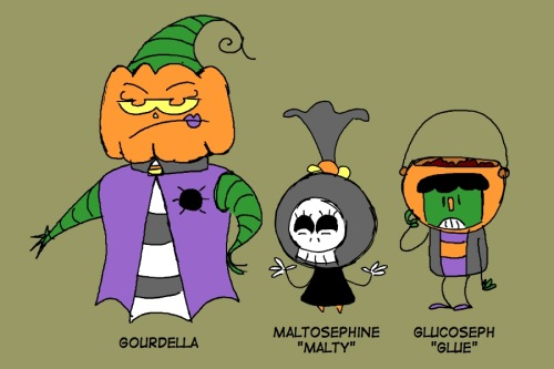 A Halloween family.I didn't want to use the cliche cavalcade of movie monsters, so I focused more on the goofy candy-coated side of the holiday.