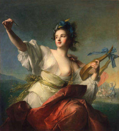 books0977:  Terpsichore, Muse of Dance (1739). Jean-Marc Nattier (French, 1685–1766). Oil on canvas. Fine Arts Museums of San Francisco. In Greek mythology, Terpsichore (delight in dancing) was one of the nine Muses, ruling over dance and the dramatic chorus. She is usually depicted sitting down, holding a lyre. Nattier became the painter of the artificial ladies of Louis XV's court. He subsequently revived the genre of the allegorical portrait, in which a living person is depicted as a Greco-Roman goddess or other mythological figure.