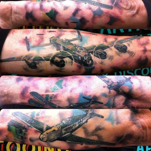 Finished! Adam's bomber group tribute forearm sleeve #tattoo #tattoos #ojtattoo #oliverjerrold #hopeandglory  #sleeve #sleeves #lancaster #bomber #tribute #me109 #spitfire #battleofbritain #ww2  (Taken with Instagram)