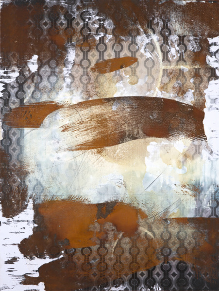 Renaud Regnery, Sazerac, 2012, Iron, rust, alkyd lacquer, graphite and spray paint on wallpaper copy on canvas