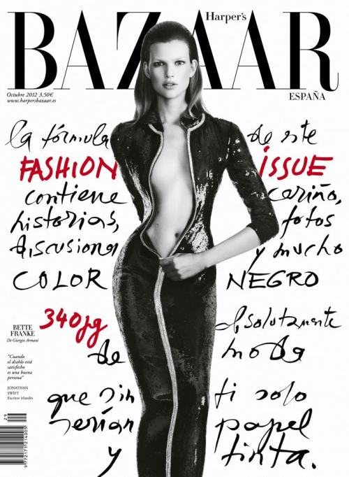 Bette Franke in Giorgio Armani on the cover of Harper's Bazaar España, October 2012
