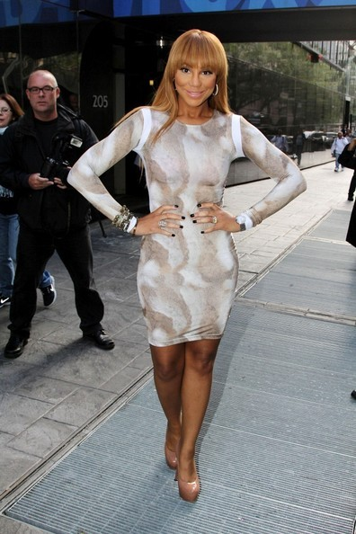 Get the Look: Tamar Braxton's New York City Ekineyo Rabbit Fur Print Hunter Dress and Yves Saint Laurent Nude Tribtoo Patent Leather Pumps