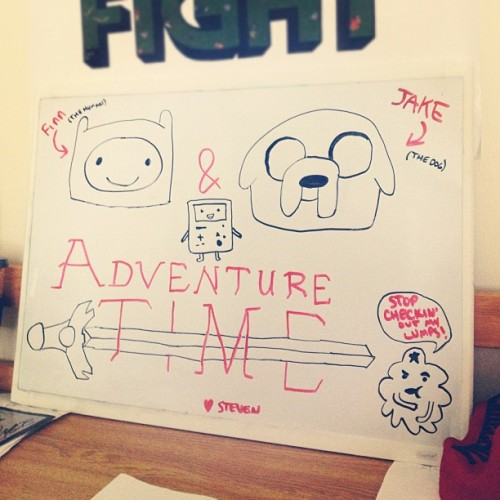 I added BMO! #adventuretime #finn #finnthehuman #jake #jakethedog #bmo #beemo #lumpyspaceprincess #lsp #drawing #whiteboard #instagram  (Taken with Instagram at Miller Hall)
