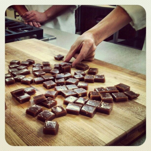 americastestkitchen:  Chewy, creamy, salty, homemade caramels go fast in the Test Kitchen. Make our easy recipe on TestKitchenFeed.com & in our #DIY cookbook (A live Instagram snapshot from the Test Kitchen. http://instagr.am/p/P2HH43rkUv/)