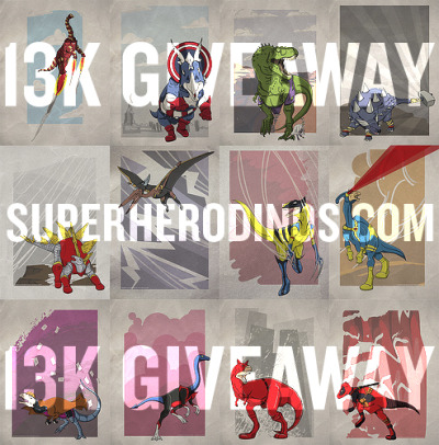 legitimusmaximus:  13K GIVEAWAY!With this being my 13,000th post… I feel like giving back to my friends & followers. Here's your chance to win a free Superhero Dinosaur Poster… Three lucky Tumblrs that FOLLOW ME will be selected at random when they REBLOG this post by September 28th, 2012. Simple right? If selected you'll be able to choose any one of the Superhero Dinosaurs for your very own personal enjoyment. If you're not into the giveway… You're more than welcome to attain your own set of Superhero Dinosaurs with a special discount by entering 13KSPECIAL at checkout.Ya dig? Good luck and happy reblogging.THANKS!
