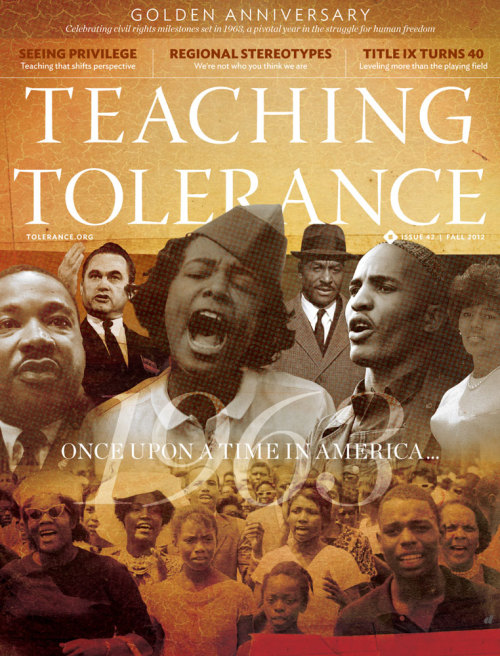 New cover of Teaching Tolerance magazine, Fall 2012, published by the Southern Poverty Law Center. Illustration: David Vogin