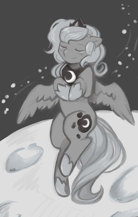 asksweetcream:  Fly me to the moon~  For that person which what runs some blogs for their name day. WOONNNAAA  shessocute.  made her hair a little longer for the flowwwyyy floaty effects.  Was gonna draw her in a zoot suit with a fedora with a Chicago Typewriter but… that … would just be too silly.   Now Woona can go swing among the stars, or see what spring is like on Jupiter and Mars.