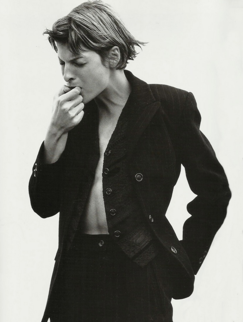 petrole:    anatomy of a suit, linda evangelista by david sims for harper's bazaar us september 1993