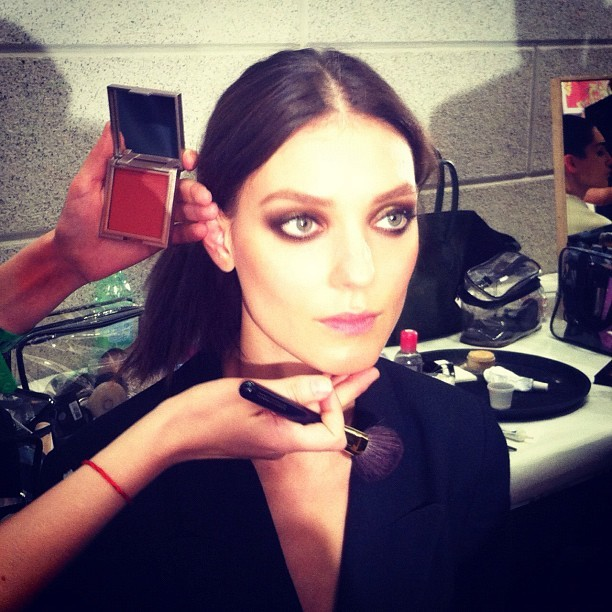 "officialstyledotcom: Kati Nescher, on display backstage @Versace. ""Cool, sexy"" smoky eyes courtesy of @patmcgrathreal; Who else? LOVE. LOVE. LOVE."