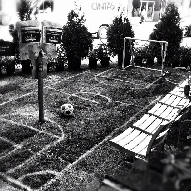 Our Robert Wilonsky found this miniature soccer field at #ParkingDayDallas, an event that transformed parking spaces in downtown into short-term 'park' installations #dallas #downtowndallas #parks #blackandwhite (Taken with Instagram at Downtown Dallas)