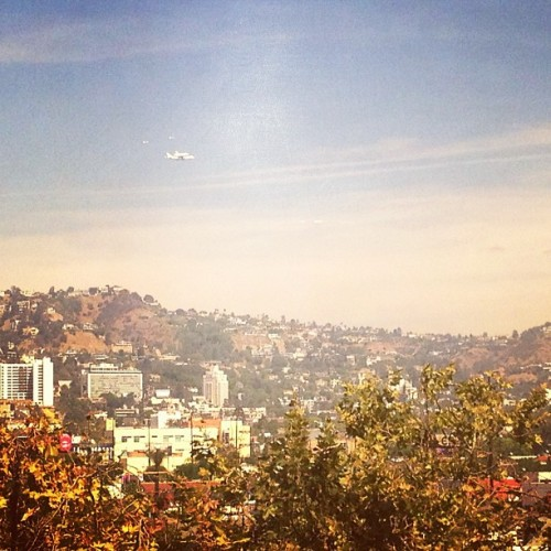 Spotted the space shuttle flying over the Hollywood Hills. It's about to land at LAX. (Taken with Instagram)