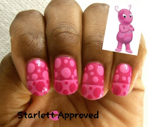 31 Day Challenge 2.0 Day 21: A Color-Pink/Uniqua of The Backyardigans Polishes Used: Sinful Colors Dressed to Kill Maybelline Posy Pink