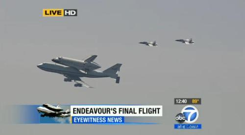 Endeavour piggybacking a modified 747 as it makes it way through L.A.