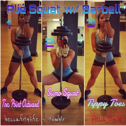 Booty Workout Command: Plié Squat w/ Barbell. Squat low & stand up on your tippy toes. Be sure to squeeze your butt as you stand up & keep your butt tucked underneath the tail bone. Do as many reps in 1 min 3x. NOW SQUAT! :) (Taken with Instagram)