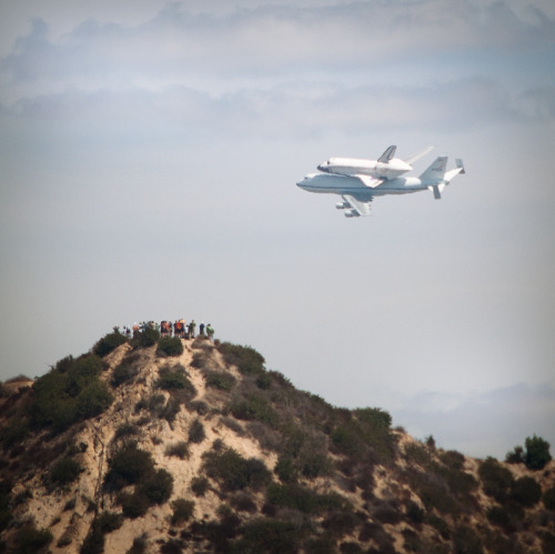 spiegelman:  Space Shuttle flying through Griffith Park  I am TOTALLY BUMMED that I didn't see this! Apparently I live under a rock because I didn't know about it. :(