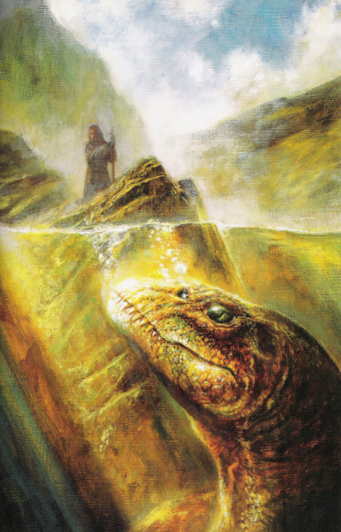 A painting by Bob Eggleton illustrating a scene from St. Adomnán's seventh century account of St. Columba's sixth century evangelism in Scotland.  Scanned from The Book of Sea Monsters.  It is written that, when trying to cross the River Ness, St. Columba was waylaid by a dragon.  The sign of the cross drove the beast away.