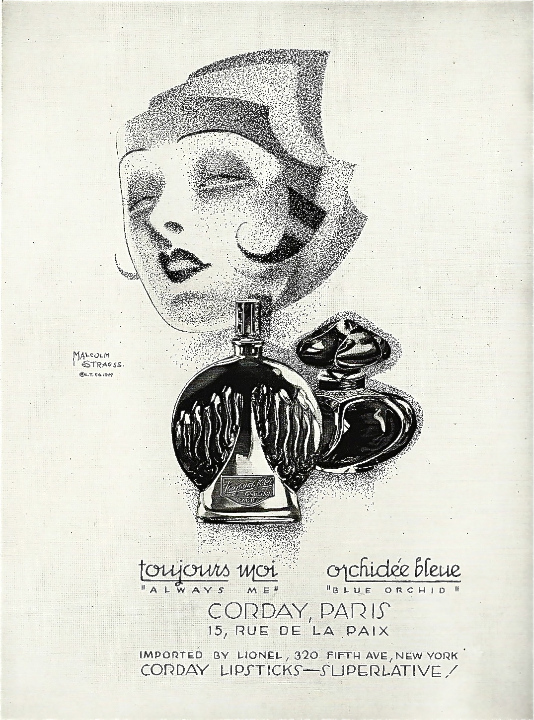 hollyhocksandtulips:  Perfume advertisement, 1927 Illustration by Malcolm Strauss