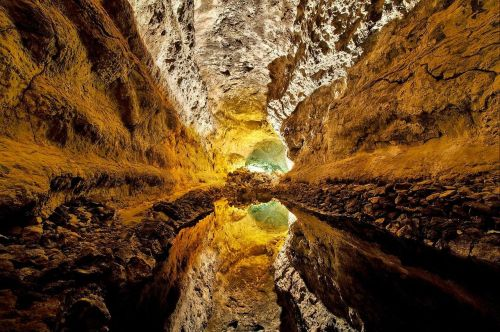 Cave Cueva de los Verdes, Canary Islands, Spain. Reflection on the Water