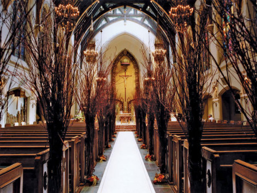 bridalguidemag:  Take a traditional church ceremony space and make it your own with beautiful branches.  See more stunning ceremony decor ideas.   This is a cute idea for Fall!