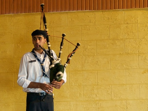 Palestinian bag-pipe playing scout at Burj al Shamali Refugee Camp, Lebanon.