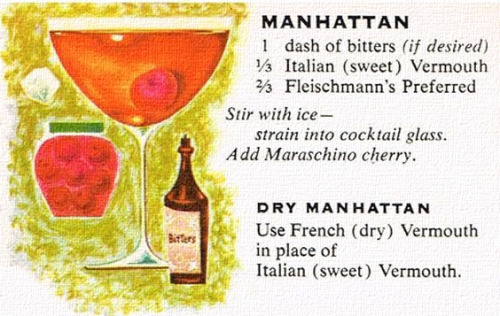Manhattan Recipe.  Mix, drink and repeat as needed.