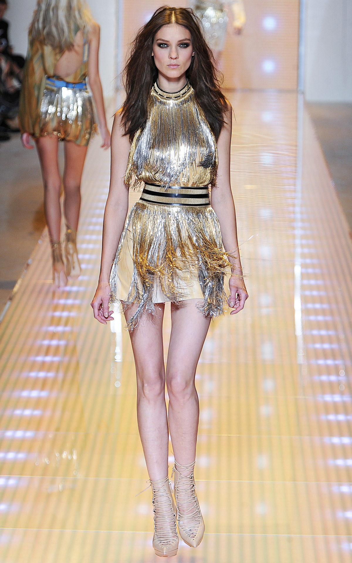 Photo by firstVIEW There's always time for a sexy, fringe-y party at Versace. Versace Spring 2013, Milan.