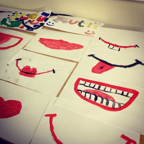 iknowwhy-thecagedbirdsings:  My kids painted smiles for our appreciation project. #smileepidemic #smile #appreciation (Taken with Instagram)