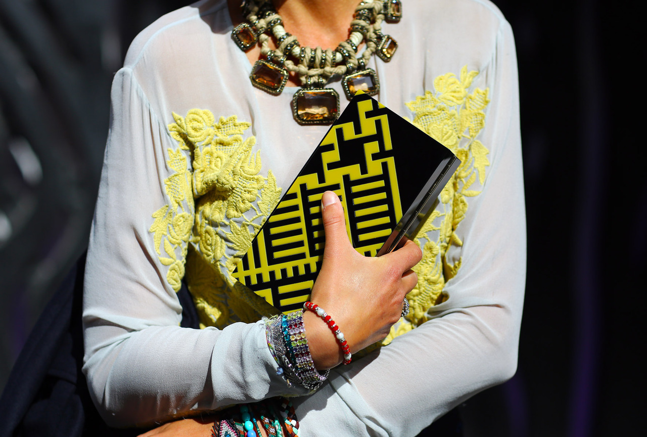 In love with bold. Lanvin necklace and Burberry Prorsum box clutch