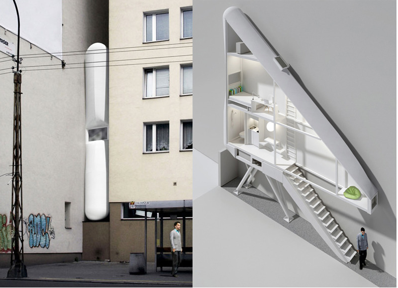 Here's an oddity for you: this is what will become the world's thinnest house (currently being built in Warsaw, Poland).