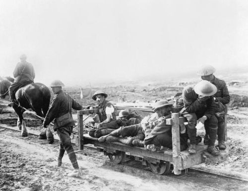 The Battle of Flers Courcelette 15 - 22 September: Canadian wounded being taken to a Dressing Station on a horse-drawn light railway.
