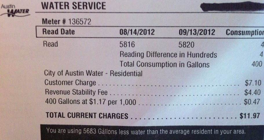 We love to see people's faces when they see our water bill. Apparently most people in our area use about 5000 more gallons per month than we do.