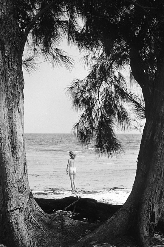 drunkcle:  Myrna Weber, framed by trees (1958)