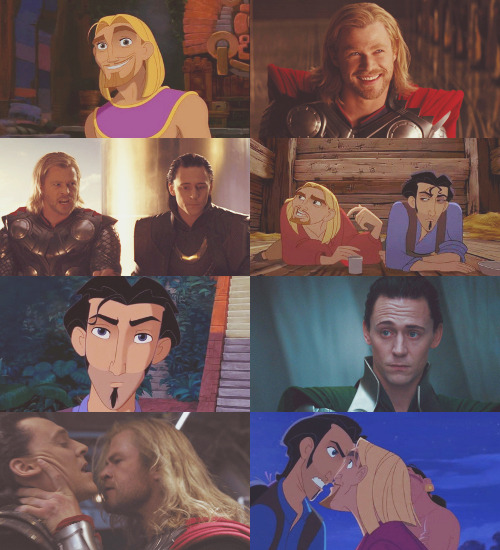 "star-spangled-stark:  au meme → loki and thor as tulio and miguel.  ""miguel and tulio."" ""tulio and miguel."" ""mighty and powerful gods!"""