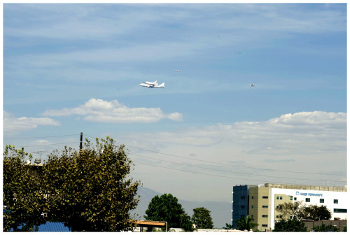 My dad took a picture of Endeavour on its way to LAX.