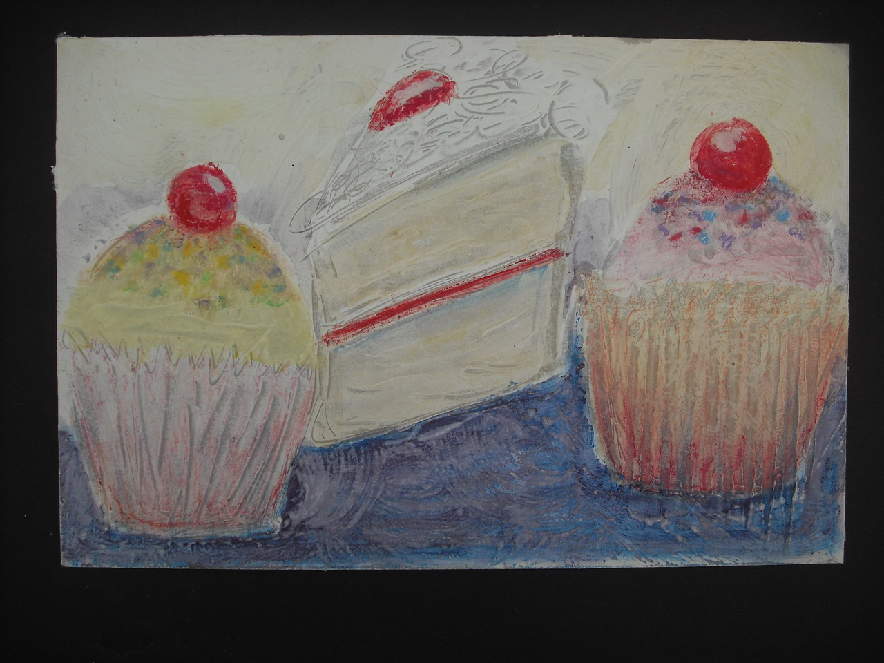 A Level Art (2008/9) Cake/Sweets Project - Oil pastel and watercolour resist on painted cardboard. Bethan Meyrick