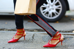 Those signature Valentino studs spotted in the streets at Milan Fashion Week…très chic!Photo by Phil Oh