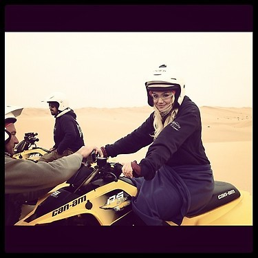 "model Kate Upton: ""Just 4 wheeling the dunes of Namibia. I love shooting for Redemption Choppers!!"" [via Instagram]"